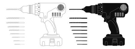 chuck: Electric cordless hand drill with bits.  Illustration