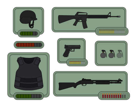 bulletproof vest: Military weapons icons. Game resources. Helmet, assault rifle, bulletproof vest, pistol, grenades, shotgun, health bar, armor bar. Vector clip art illustrations isolated on white