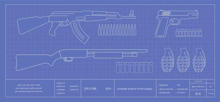 military draft: Blue print weapons set: assault riffle, pistol, shotgun, grenades, combat knife, bullets. Illustration