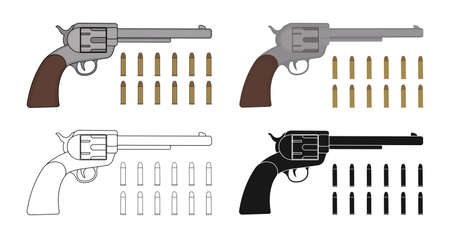 six objects: Set of six-gun revolvers with bullets. Game resources. Color, contour, silhouette.