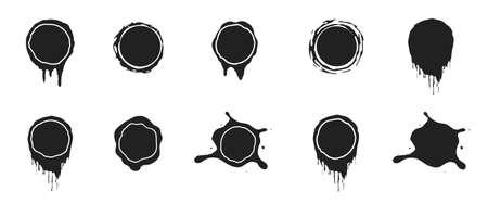 Vector black paint splashes. Ink clip art illustration isolated on white