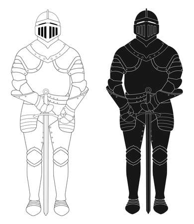 Standing knight medieval armor statue. Vector clip art illustration isolated on white. Contour lines, silhouette