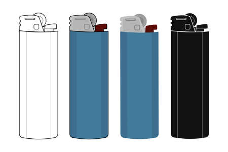 Disposable pocket gas lighters icons set. Contour, color, black silhouette.  Vector