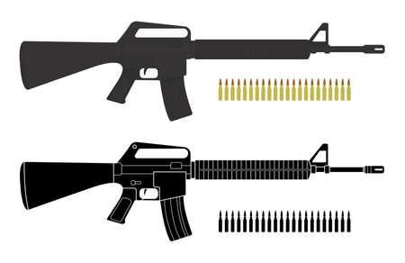 bullets: Assault rifles with bullets. Video game resources.  Illustration