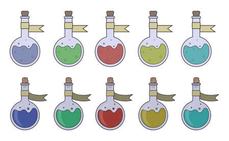 wizardry: Magic potions set. Fantasy game resources. Vector clip art illustrations isolated on white Illustration