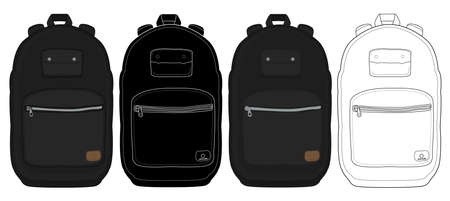 isolated: Black urban backpack set. Color, contour lines, silhouette. Vector clip art illustrations isolated on whute
