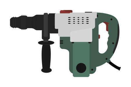 hammer drill: Big electric hammer drill icon in black and green colors. Clip art illustration isolated on white Illustration