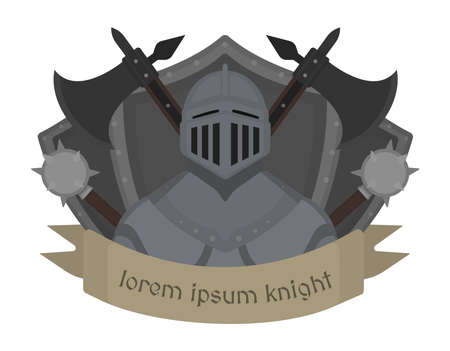 knight: Medieval knight logo. Helmet, armor, mace, ax, shield, sign.