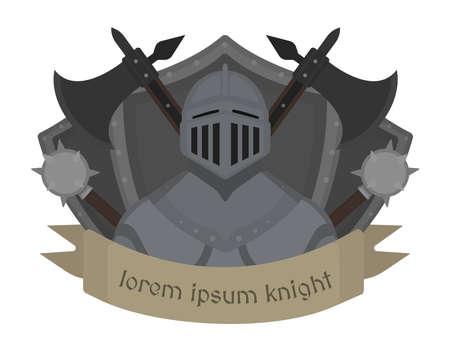 cartoon knight: Medieval knight logo. Helmet, armor, mace, ax, shield, sign.