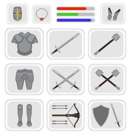 crossbow: Game inventory. Knight warrior armor set. Helmet, necklace, health, mana, power bars, sword, breastplate, gloves, leggings, boots, mace, crossbow, shield. Vector illustration