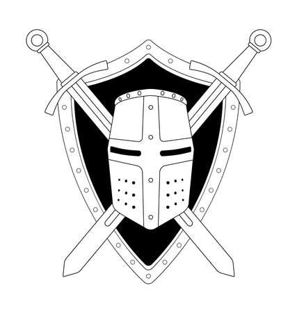 crossed swords: Dos cruzaron espadas escudo y casco her�ldica emblema. Logotipo de Seguridad. Clip art ilustraci�n l�neas de contorno vectorial aislado en blanco