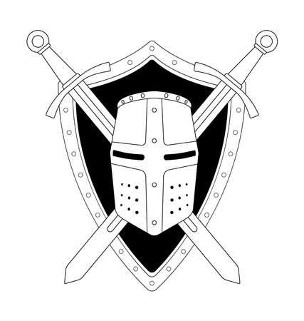 ancient warrior: Two crossed swords shield and helmet heraldry emblem. Security logo. Clip art contour lines vector illustration isolated on white