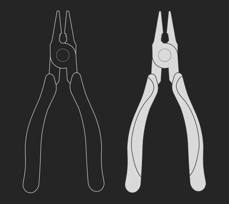 wirecutters: Construction rubber handle pliers icon. Vector clip art chalk illustrations isolated on blackboard Illustration