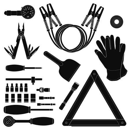 road scraper: Road kit silhouettes set. Tire pressure gauge, jumper cables, insulating tape, working gloves, emergency sign, flashlight, ice scraper, ratchet set, screwdriver, multi-tool. Vector illustrations Illustration