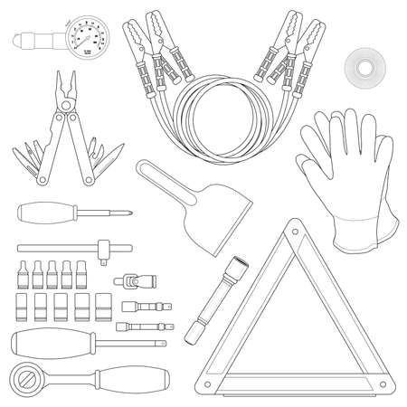 scraper: Road kit linear set. Tire pressure gauge, jumper cables, insulating tape, working gloves, emergency sign, flashlight, ice scraper, ratchet set, screwdriver, multi-tool. Vector illustrations