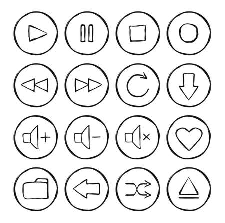 web buttons set: Multimedia hand drawn sketch icons set. Vector linear illustrations isolated on white