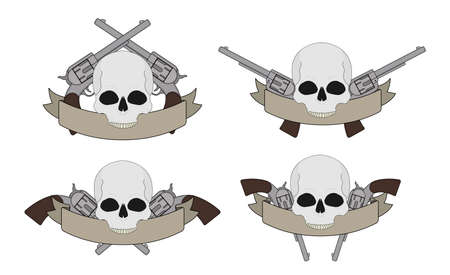 pistols: Wild west pistols and skull banners, different styles. Vector clip art illustration isolated on white Illustration