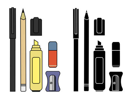 clerical: Stationery writing tools set. Pen, pencil, yellow marker, eraser, sharpener. Vector color and silhouette clip art illustration isolated on white