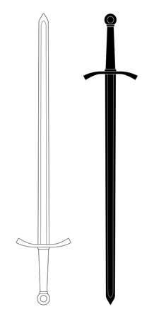 両手の中世騎士ベクトル剣クリップ アート輪郭線と白で隔離シルエット イラスト