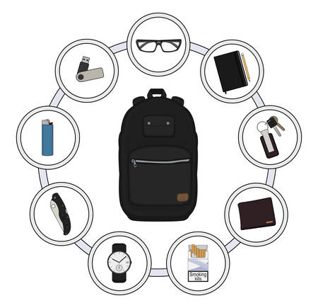 every day: Backpack contents. Every day carry objects in round frame. Vector clip art illustrations isolated on white Illustration