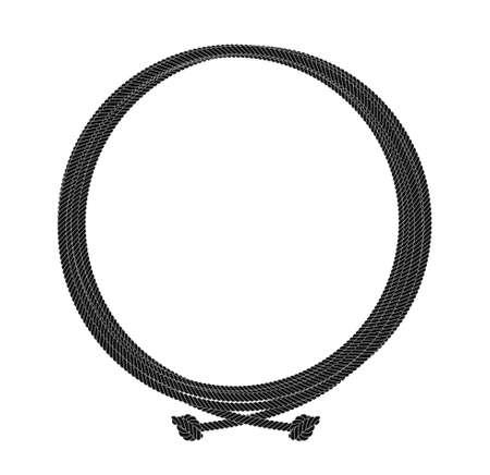ラウンド ロープ ノード フレーム。白で隔離黒いベクター クリップ アート イラスト
