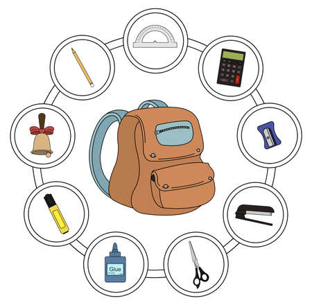 ilustrations: School backpack contents. Icons in round frames. Vector clip art ilustrations isolated on white Illustration