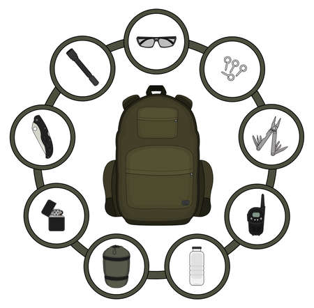 survival knife: Traveler backpack contents. Tourism objects in round frame. Vector clip art illustrations isolated on white