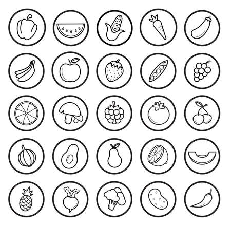 Fruit and vegetables linear icons set. Vector contour lines illustrations isolated on white Vettoriali
