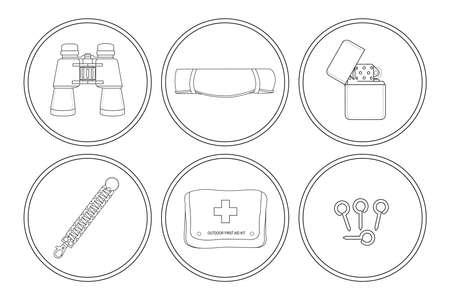 clip art: Camping icone set. Binocoli, stuoia turistico, benzina pi� leggero, bracciale paracord, kit di pronto soccorso, pioli di tenda. Illustrazioni vettoriali clip art isolato su bianco