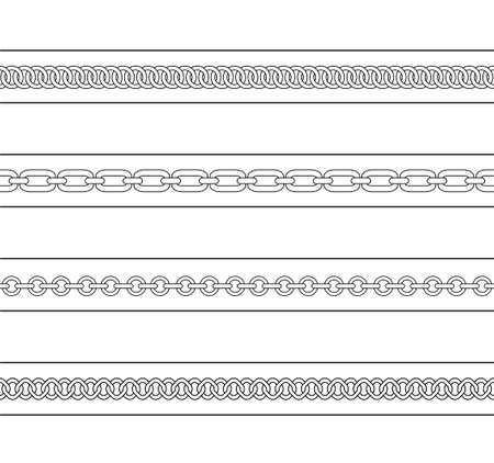 chain link: Set of chains web page dividers. Vector contour lines clip art