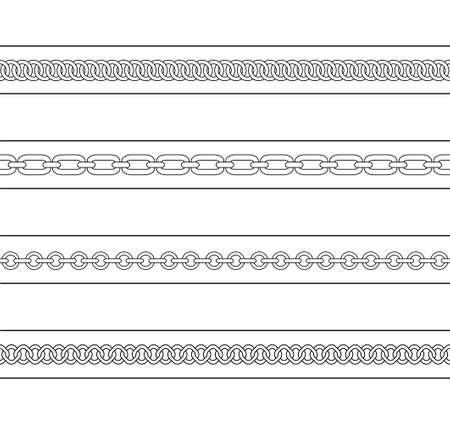 Set of chains web page dividers. Vector contour lines clip art