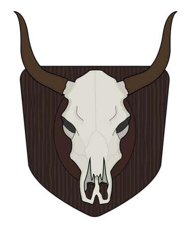 WIld west cow skull on wood shield. Vector clip art illustration isolated on white Illustration