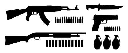 Weapon game resources silhouettes pack. Vector clip art illustrations isolated on white Stock Illustratie