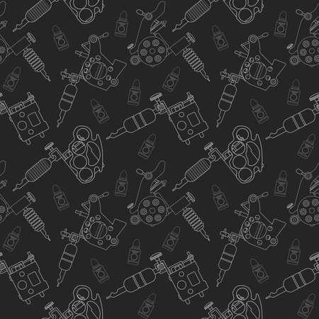 professionally: Tattoo machines and ink vector seamless pattern. Chalk on blackboard