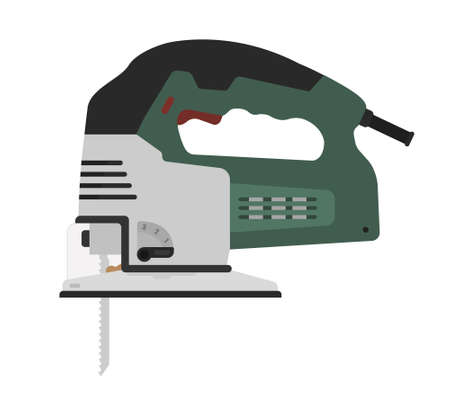 jig saw: Electric green color carpentry jig saw tool. Vector clip art illustration isolated on white Illustration