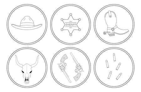 six shooter: Wild west contour lines objects set. Vector clip art illustrations isolated on white Illustration