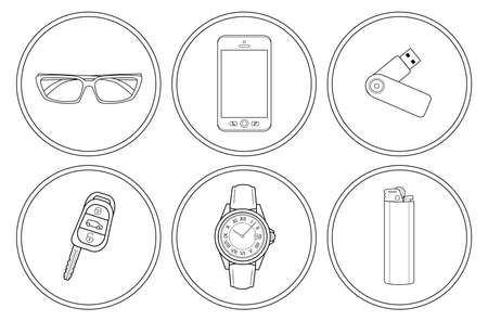 gas lighter: Every day carry detailed linear icons set. Sunglasses, mobile phone, usb flash drive, car keys, hand watches, gas lighter. Vector clip art illustrations isolated on white