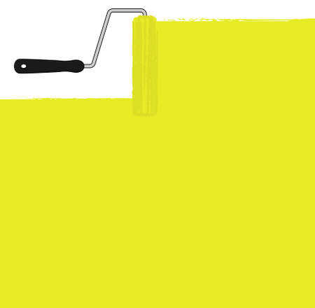 yellow paint: Yellow paint roller painting the wall. Vector background clip art illustration Illustration