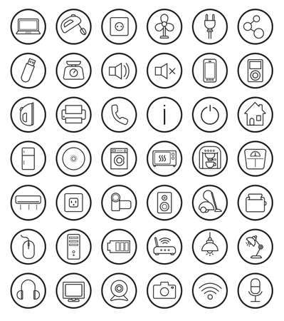 Household linear icons set. Vector clip art illustrations isolated on white Vector
