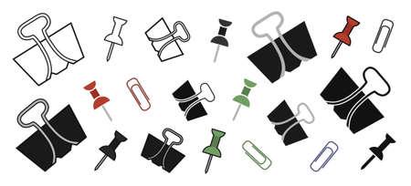 clip art: Ufficio di cancelleria perni e graffette set. Contorno, colore, silhouette. Illustrazioni vettoriali clip art isolato su bianco