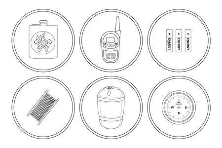 sleeping bag: Camping icons set. Drinking flask, radio set, batteries, paracord rope, sleeping bag, pocket compass. Vector clip art illustrations isolated on white
