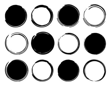 circular frame: Black ink round frames. Vector clip art illustrations isolated on white