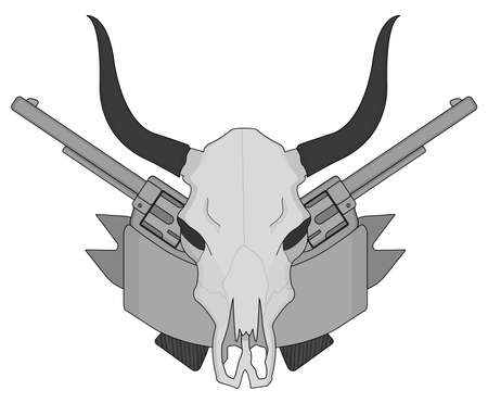 gray scale: Wild west cow skull, pistols, ribbon logo. Gray scale vector clip art illustration isolated on white