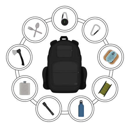 contents: Traveler black backpack contents. Tourism objects in round frame. Vector clip art illustrations isolated on white