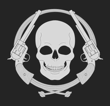 lasso: Wild west emblem. Skull and pistols in lasso frame. Vector chalk clip art illustration isolated on blackboard Illustration