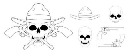 lawbreaker: Skull in hat 2 crossed pistols emblem. Vector clip art linear illustration isolated on white