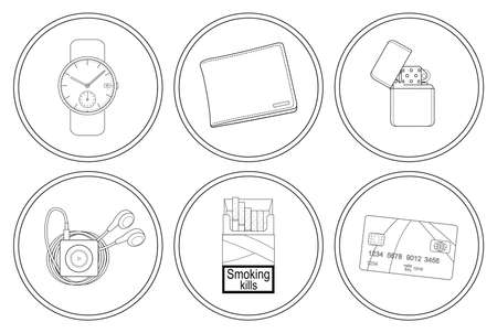 money wallet: Every day carry detailed linear icons set. Hand watches, money wallet, gasoline lighter, mp3 music player, cigarettes pack, credit card. Vector clip art illustrations isolated on white