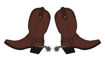 spur: Wild west leather cowboy boot with spurs and stars. Vector clip art illustration isolated on white