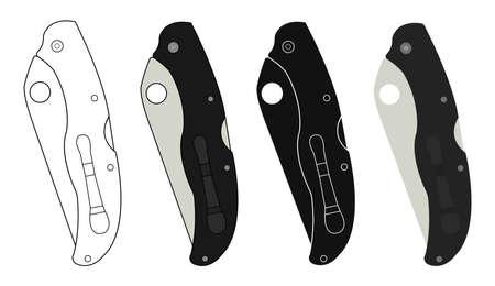 fiambres: Bolsillo cerrado knifes iconos. Color, ning�n esquema, lineal, silueta. Ilustraciones de arte Vector de im�genes aisladas en blanco