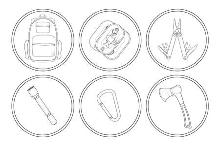 multi: Camping linear icons set. Backpack, canned food, multi tool, flashlight, carabiner, ax. Vector clip art illustrations isolated on white